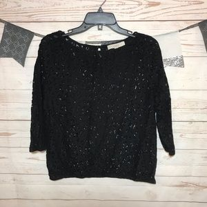 LOFT Black Crochet Blouse Size M